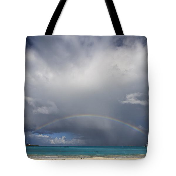 Rainbow Over Emerald Bay Tote Bag by Dennis Hedberg