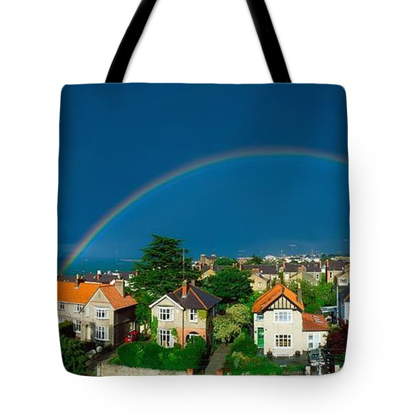 Rainbow Over Housing, Monkstown, Co Tote Bag by The Irish Image Collection