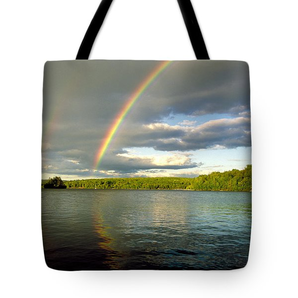 Rainbow Over Lake Wallenpaupack Tote Bag by Michael P Godomski and Photo Researchers