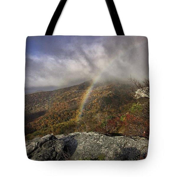 Rainbow over Rough Ridge - NC Autumn Scene Tote Bag by Rob Travis