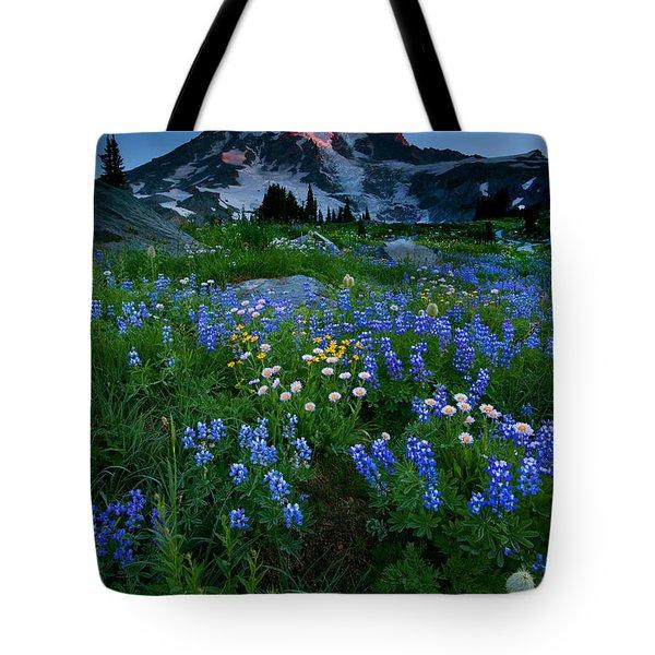 Rainier Wildflower Dawn Tote Bag by Mike  Dawson