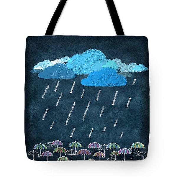 rainy day with umbrella Tote Bag by Setsiri Silapasuwanchai