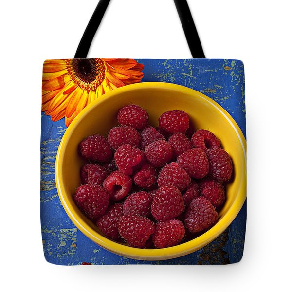 Raspberries in yellow bowl Tote Bag by Garry Gay