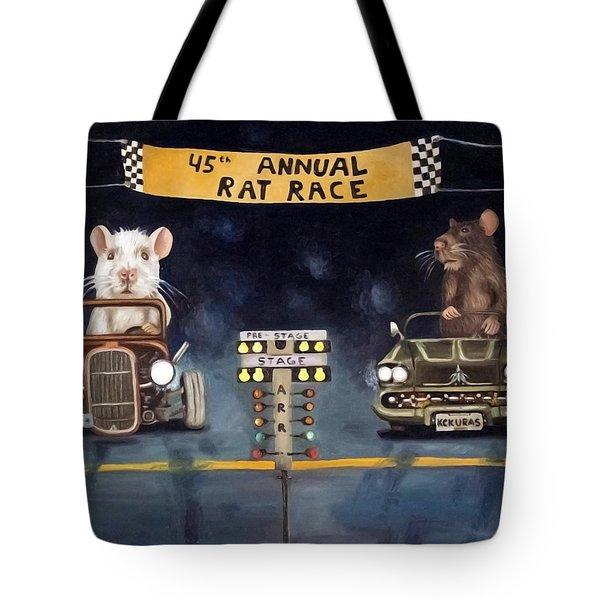 Rat Race Darker Tones Tote Bag by Leah Saulnier The Painting Maniac