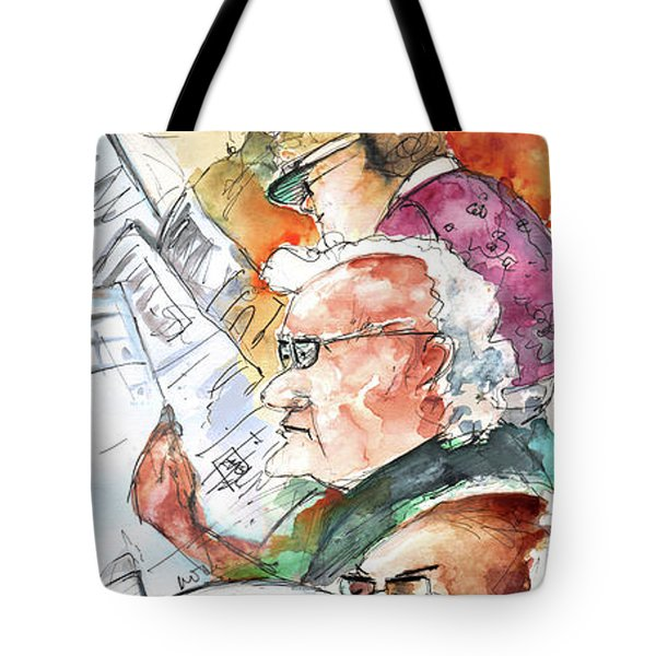Reading The News 07 Tote Bag by Miki De Goodaboom