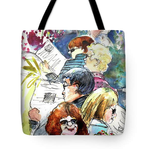 Reading The News 08 Tote Bag by Miki De Goodaboom