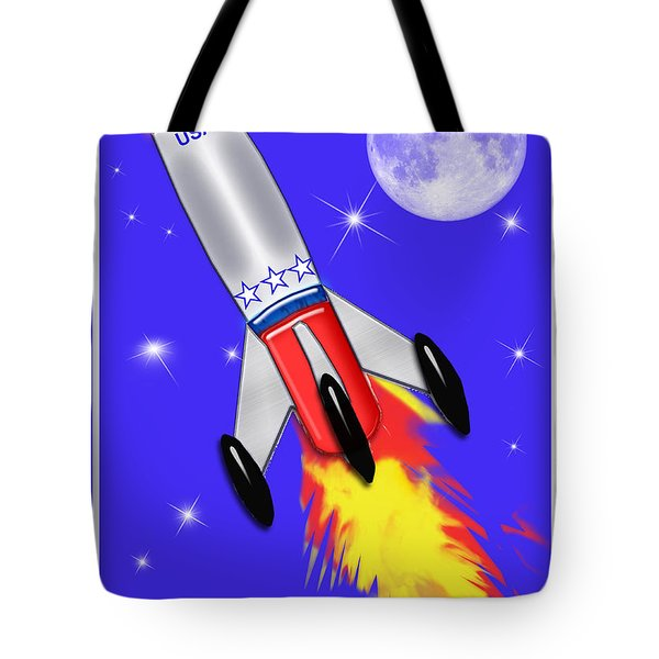 Really Cool Rocket In Space Tote Bag by Elaine Plesser