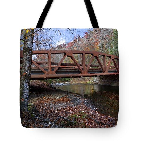 Red Bridge Tote Bag by Debra and Dave Vanderlaan