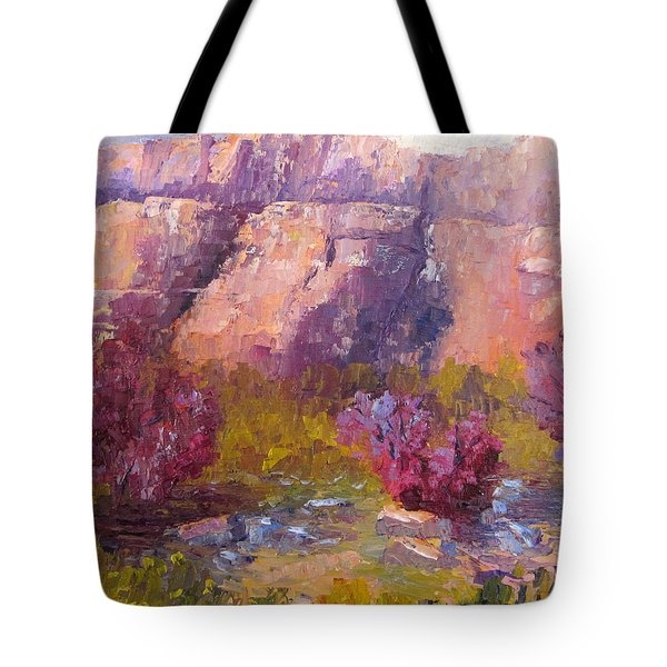Red Bud Trees Tote Bag by Terry  Chacon