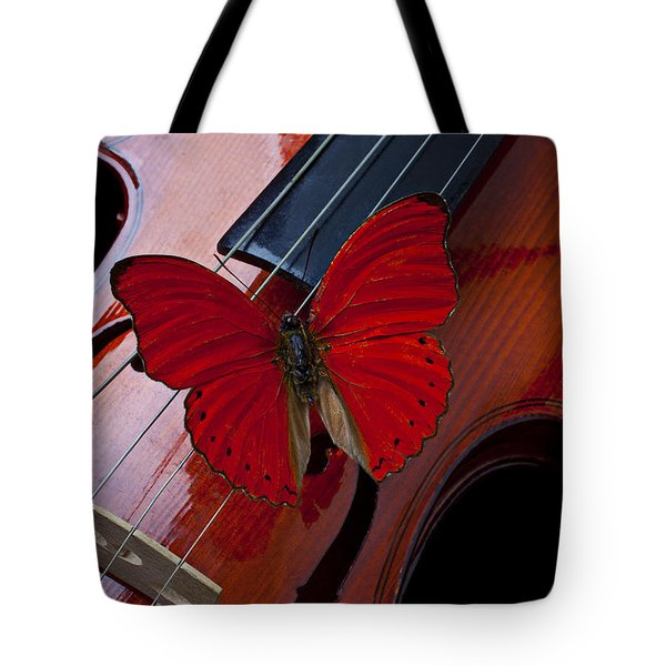 Red Butterfly On Violin Tote Bag by Garry Gay