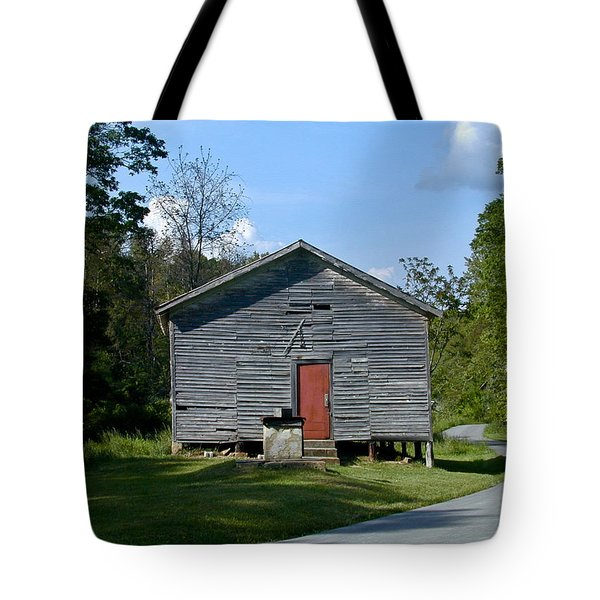 Red Door Of The One Room School House Tote Bag by Douglas Barnett