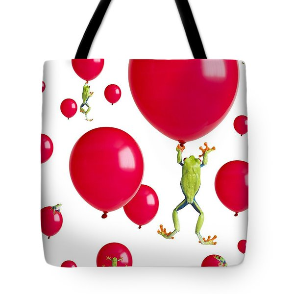 Red-eyed Treefrogs Floating On Red Tote Bag by Corey Hochachka