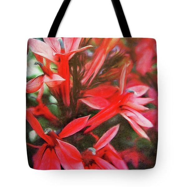 Red Flowers Tote Bag by Angela Doelling AD DESIGN Photo and PhotoArt