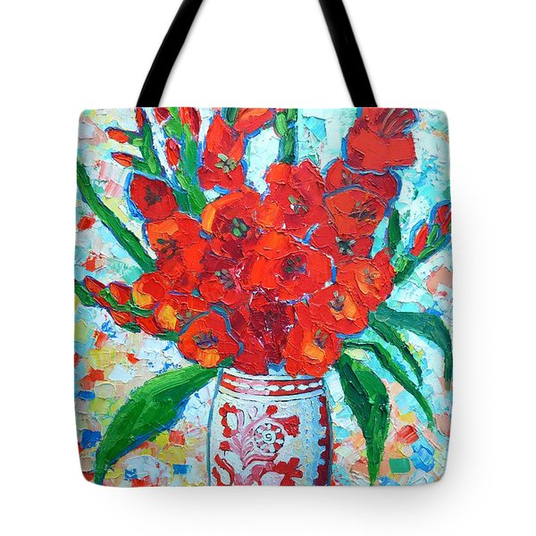 RED GLADIOLUS Tote Bag by ANA MARIA EDULESCU