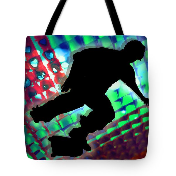 Red Green And Blue Abstract Boxes Skateboarder Tote Bag by Elaine Plesser