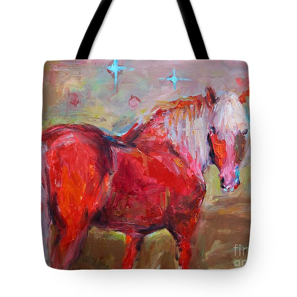 Red Horse Contemporary Painting Tote Bag by Svetlana Novikova