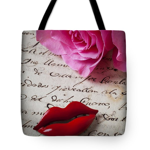 Red lips On Letter Tote Bag by Garry Gay