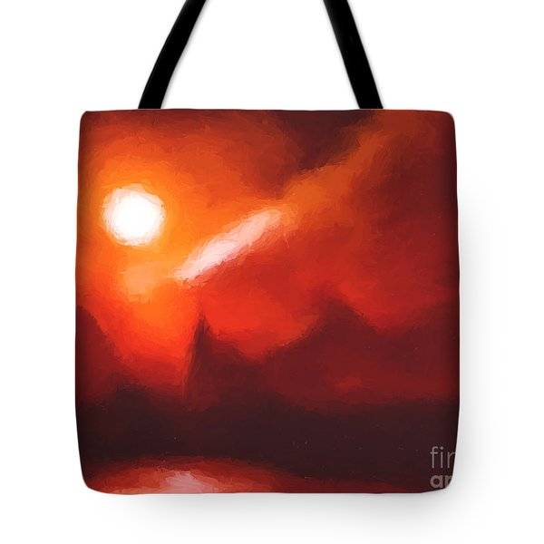 Red Mountains Tote Bag by Pixel Chimp
