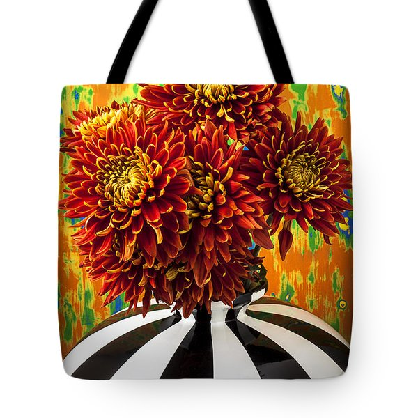 Red Mums In Striped Vase Tote Bag by Garry Gay