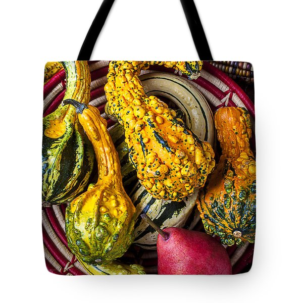 Red Pear And Gourds Tote Bag by Garry Gay