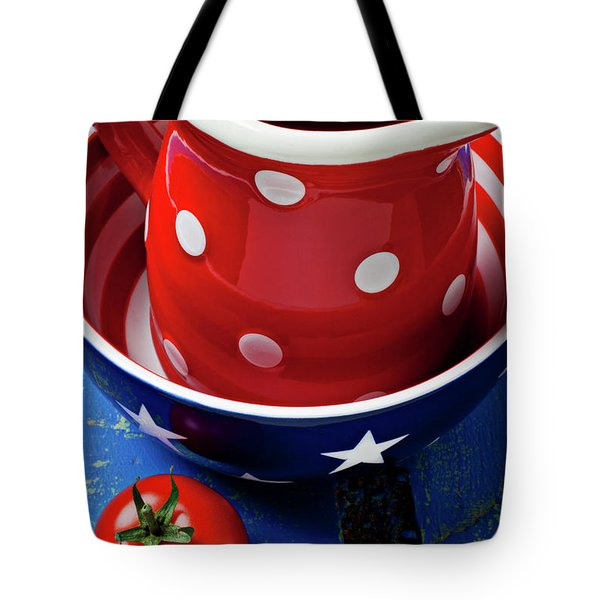 Red pitcher and tomato Tote Bag by Garry Gay