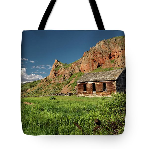 Red Rock Cabin Tote Bag by Leland D Howard