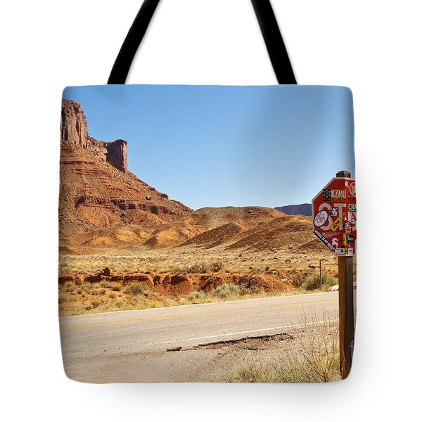 Red Rock Stop Tote Bag by Bob and Nancy Kendrick