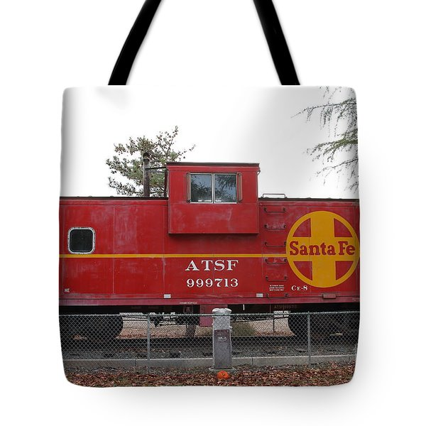 Red Sante Fe Caboose Train . 7D10328 Tote Bag by Wingsdomain Art and Photography