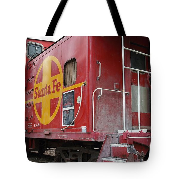 Red Sante Fe Caboose Train . 7D10334 Tote Bag by Wingsdomain Art and Photography