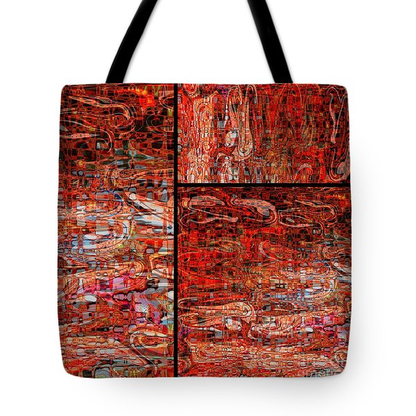 Red Splashes Swishes and Swirls - Abstract Art Tote Bag by Carol Groenen