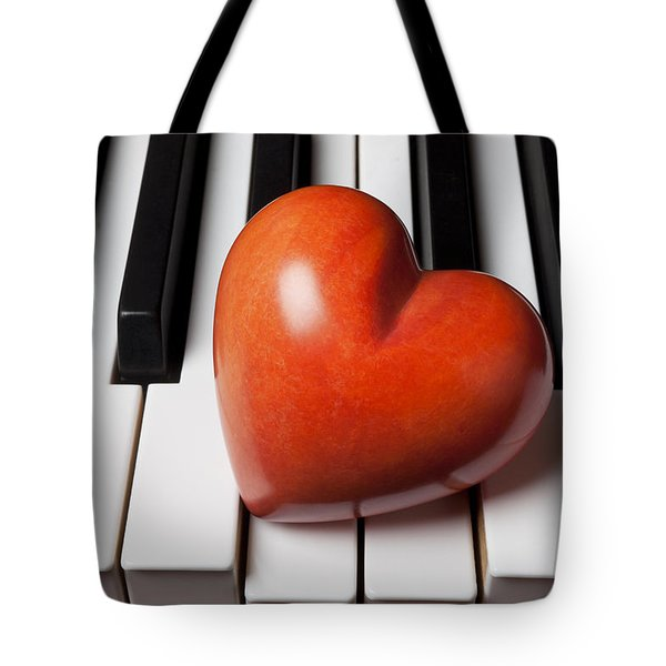 Red Stone Heart On Piano Keys Tote Bag by Garry Gay