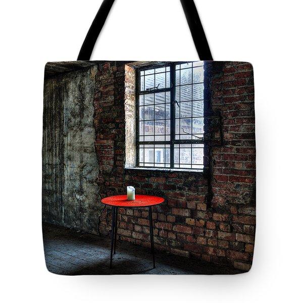 Red Table Tote Bag by Steev Stamford
