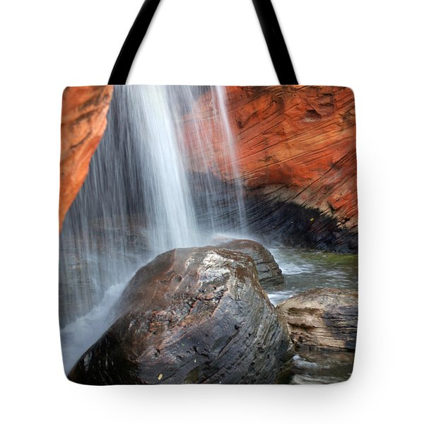 Red Waterfall Tote Bag by Carlos Caetano