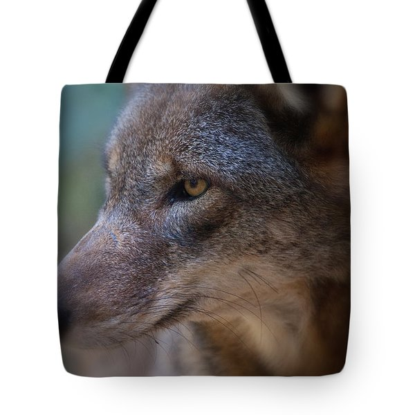 Red Wolf Stare Tote Bag by Karol Livote