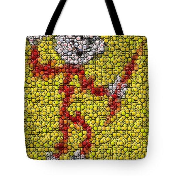Reddy Kilowatt Bottle Cap Mosaic Tote Bag by Paul Van Scott