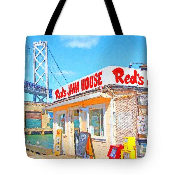 Reds Java House and The Bay Bridge at San Francisco Embarcadero Tote Bag by Wingsdomain Art and Photography