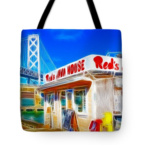 Red's Java House Electrified Tote Bag by Wingsdomain Art and Photography
