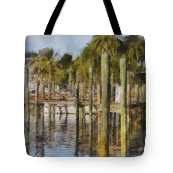 Reflections At Fort Pierce Tote Bag by Trish Tritz