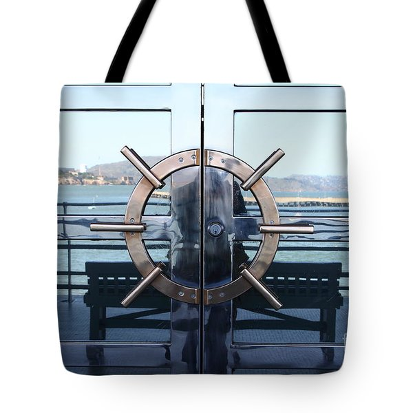 Reflections Of Alcatraz Island At The Maritime Museum In San Francisco California . 7d14080 Tote Bag by Wingsdomain Art and Photography