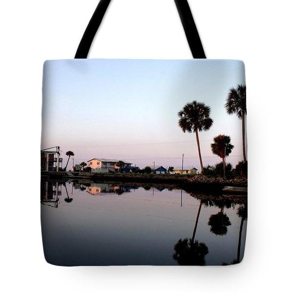 Reflections Of Keaton Beach Marina Tote Bag by Marilyn Holkham