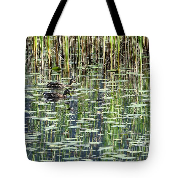 Reflections on Duck Pond Tote Bag by Sharon  Talson