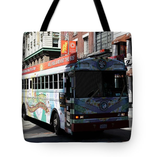 Retro 60s San Francisco Haight Ashbury Magic Bus - 5d18009 Tote Bag by Wingsdomain Art and Photography