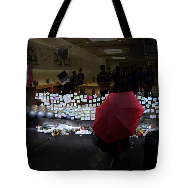 RIP Steve Jobs . October 5 2011 . San Francisco Apple Store Memorial 7DIMG8558.highlighted Tote Bag by Wingsdomain Art and Photography