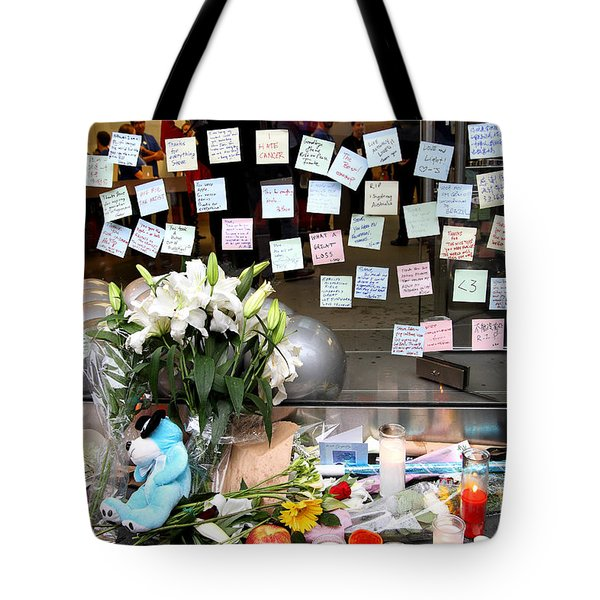 RIP Steve Jobs . October 5 2011 . San Francisco Apple Store Memorial 7DIMG8574 Tote Bag by Wingsdomain Art and Photography