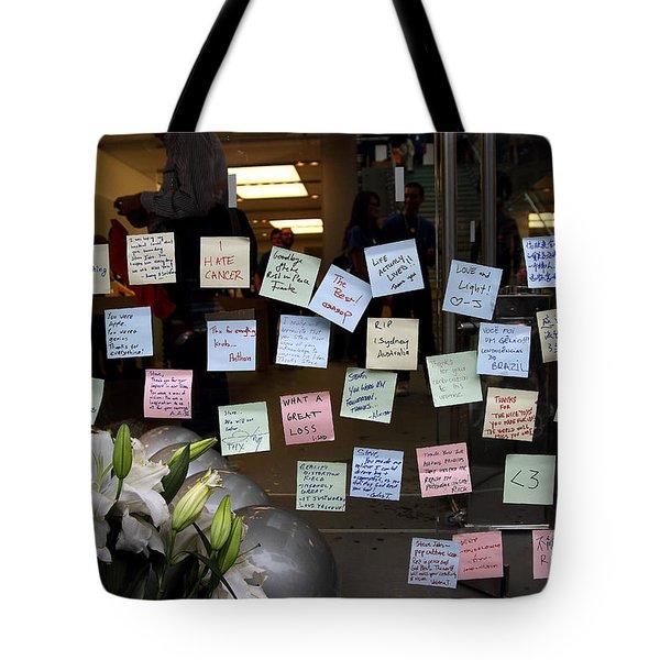 RIP Steve Jobs . October 5 2011 . San Francisco Apple Store Memorial 7DIMG8575 Tote Bag by Wingsdomain Art and Photography