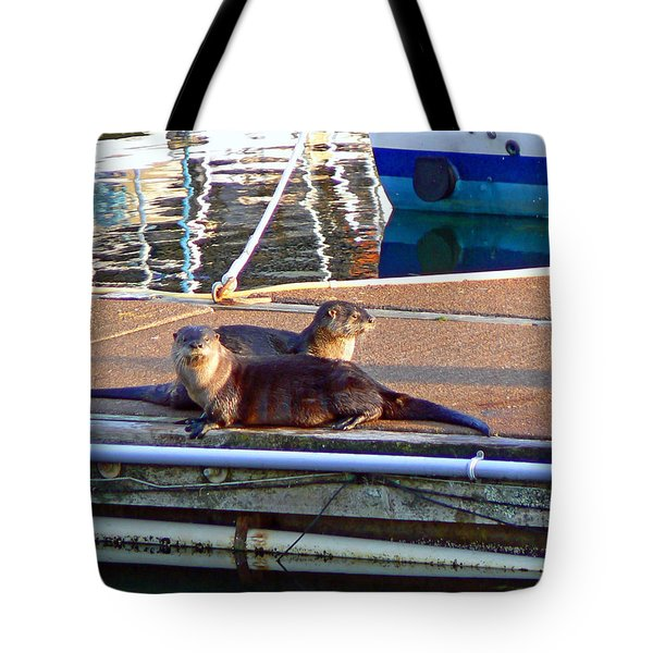 River Otters at the Harbor Tote Bag by Pamela Patch