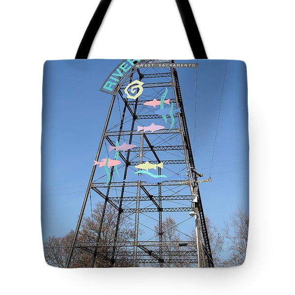 River Walk Tower Sign in West Sacramento California . 7D11400 Tote Bag by Wingsdomain Art and Photography