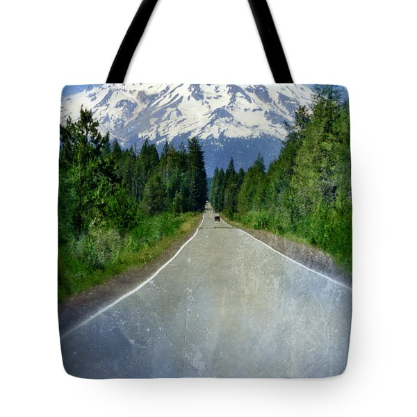 Road Leading To Snow Covered Mount Shasta Tote Bag by Jill Battaglia