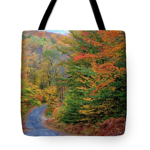 Road Through Autumn Woods Tote Bag by Larry Landolfi and Photo Researchers
