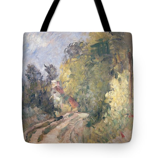Road Turning Under Trees Tote Bag by Paul Cezanne